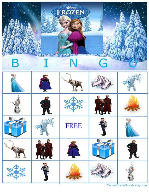 Disney Frozen Bingo Instant Download by YummiliciousTreats on Etsy, $5.00 Also check out my shop www.partiesandfun.etsy.com for more party ideas.