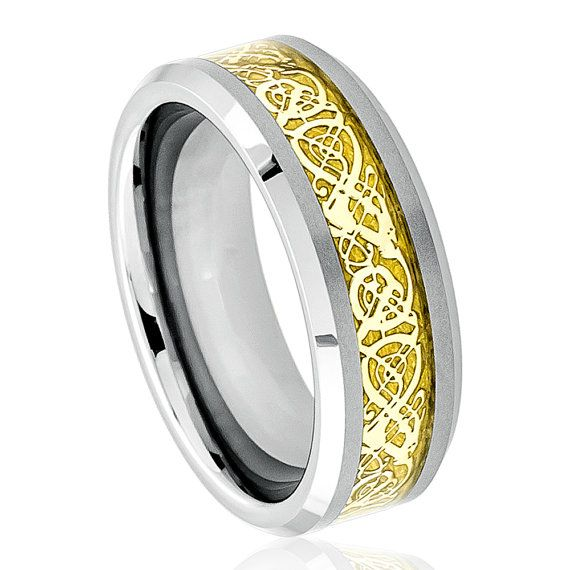 Description:    1. SKU# TR366 Men's Women's Tungsten Wedding Rind Shiny Beveled Edge with Golden Celtic Dragon Cut-out Inlay  2. SKU# TR367 Men's Women's Tungsten Wedding Rind Shiny Beveled Edge with Blue Celtic Dragon Cut-out Inlay - 8mm    Style: Fashion, Modern  Type: Tungsten Wedding Ring  Material: Tungsten  Color: Gray, Gold, Blue  Ring Width: 8mm  Sizes: 6, 6.5, 7, 7.5, 8, 8.5, 9, 9.5, 10, 10.5, 11, 11.5, 12, 12.5, 13, 14, 15    Package Includes:  1 x Ring (Without Gift Boxes)…