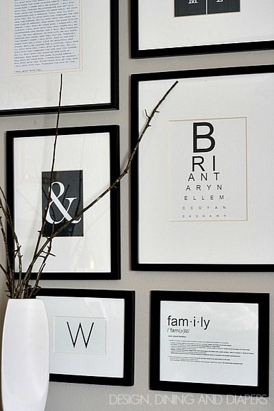 Black and White Gallery Wall with FREE Printables by @Taryn {Design, Dining + Diapers}