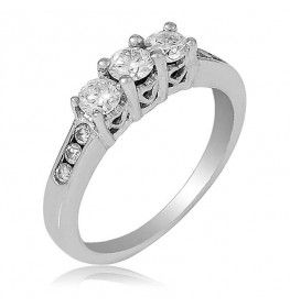 0.47 CT T.W. Diamond Three Stone Ring In 14k White Gold