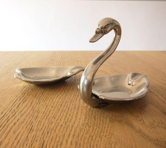Mid Century Swan Plated Double Ashtray / Trinket Holder / Little plate / Set of 2 Christmas gift