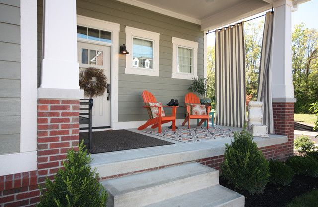 home depot window coverings Porch Craftsman with Adirondack chairs area rug brick covered patio front porch