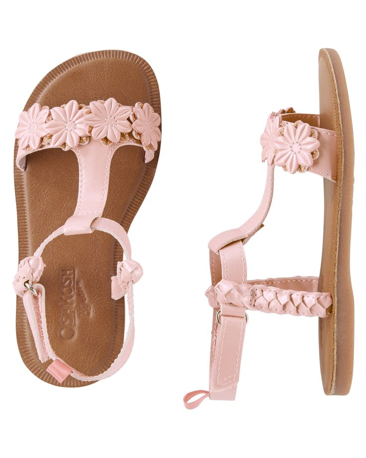 These pink sandals with floral details and hook and loop straps are just what she needs to complete her favorite summer outfit!