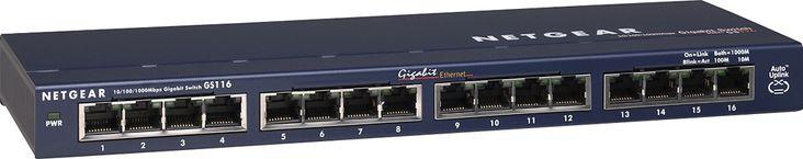 NETGEAR - ProSafe 16-Port 10/100/1000 Gigabit Ethernet Switch - Blue, GS116NA