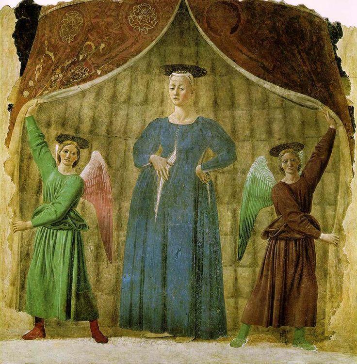 Мадонна дель Парто, 1465-1470 гг. Погребальная капелла, Монтерки, Франция. На фреске Мадонна предстаёт в несколько необычном для итальянской иконографии образе беременной женщины, её одежда подчеркивает округлости, а рука, лежащая на животе, символизирует опеку Богоматери над нерожденными. Позади Мадонны – два ангела, приоткрывающие занавес.
