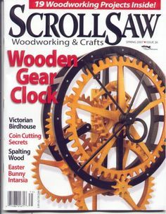 The clock shown here was designed by Marc Tovar, and was featured on the cover and in an included plan in an issue of Scrollsaw Woodworking & Crafts Magazine. I like the looks of it, but from my experience as a clockmaker I can see a couple potential issues with it. If you choose to build it, you might want to beef-up the support for the front plate, because any sag caused b the weight will cause this clock to stall.