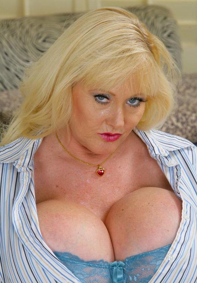 Blonde granny huge tits