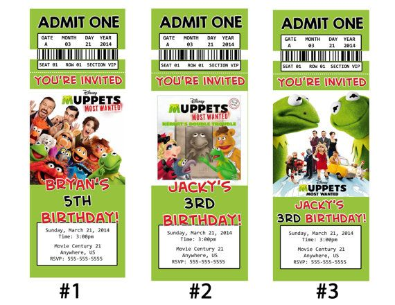 muppets most wanted movie ticket invitations and party decorations muppets most wanted birthday invitations