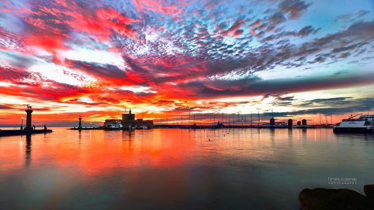 sunrise in Mandraki harbor by Dimitris Koskinas on 500px