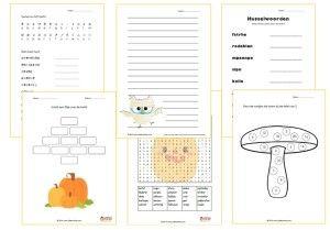 Herfstpakket middenbouw / bovenbouw met husselwoorden, geheimschrift, een elfje schrijven, tafels van 1, 2, 4, 5, en 10 oriënteren, schrijflijnen en een woordzoeker.