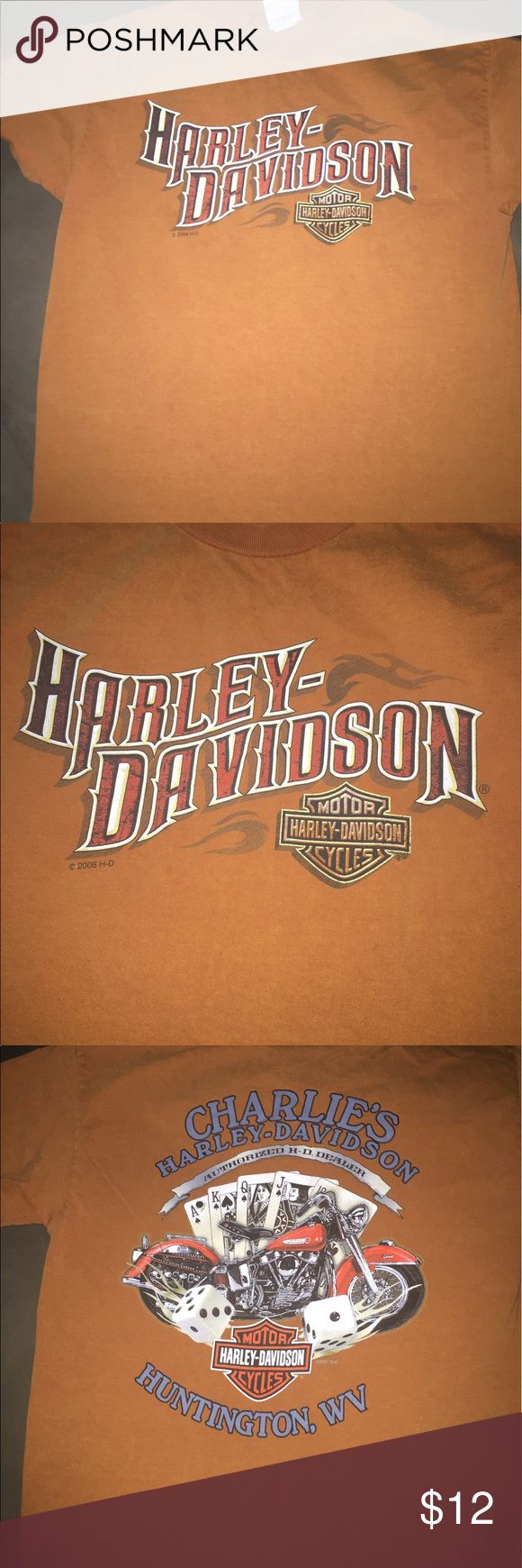 Harley Davidson T shirt Burnt Orange with pretty cool graphics Harley-Davidson Shirts Tees - Short Sleeve