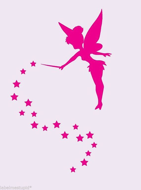Tinkerbell Silhouette With Stars Wall Stickers Decal