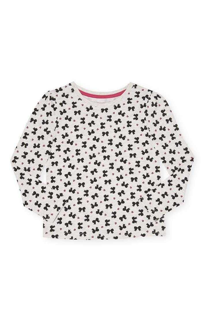 Primark - Grijs shirt met hartjes-/strikjesprint