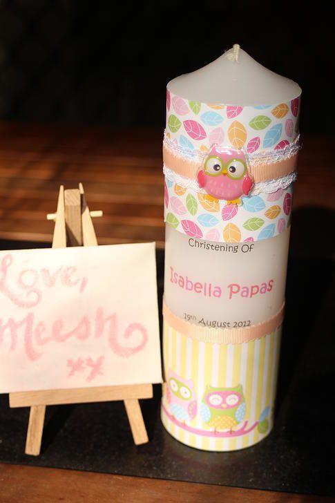 Unique Handmade Christening Candles  Please visit our website : lovemeeshxx.com  Etsy Store : https://etsy.com.au/LoveMeeshxx  Or follow us on Social Media :  FB : https://facebook.com/lovemeeshxx Insta : https://instagram.com/lovemeeshxx
