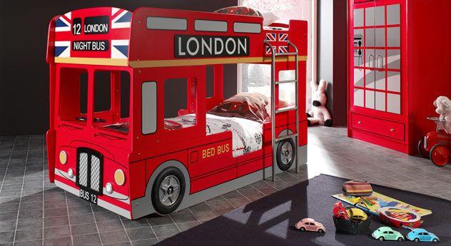 niedriges Etagenbett für zwei Kinder im London-Bus-Look! Tolles Kindermöbel für kleine Racker. | Betten.de #london #bett #kinder #bus #spielen http://www.betten.de/auto-etagenbett-rot-london-doppeldecker-paddington.html