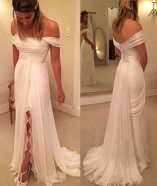 Sheath Ivory Chiffon Off the Shoulder with Slit Beach Wedding Dresses,apd2407