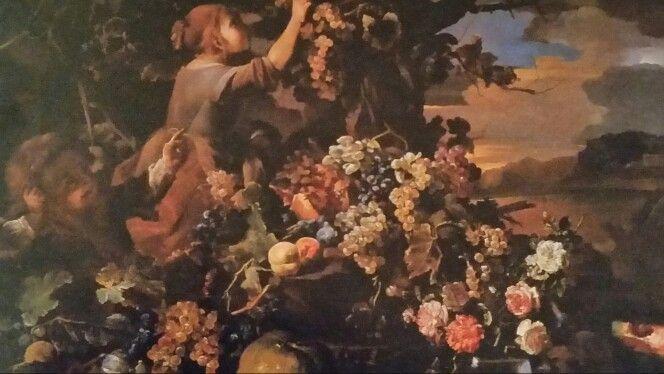 ABRAHAM BRUEGHEL ( Anversa 1631 - Napoli 1697 ) ( still life ) & BERNHARD KEILHAU called MONSU ' BERNARDO ( Helsinger 1624 - 1687 ) ( figure and landscape ). NATURA MORTA DI COCOMERI, MELONI, FICHI, UVA, MELOGRANI, PESCHE E ALTRI FRUTTI, VASO DI CRISTALLO CON FIORI, UN FANCIULLO E UNA GIOVINETTA CHE COGLIE L ' UVA. olio su tela 146,8 × 197,5 c.