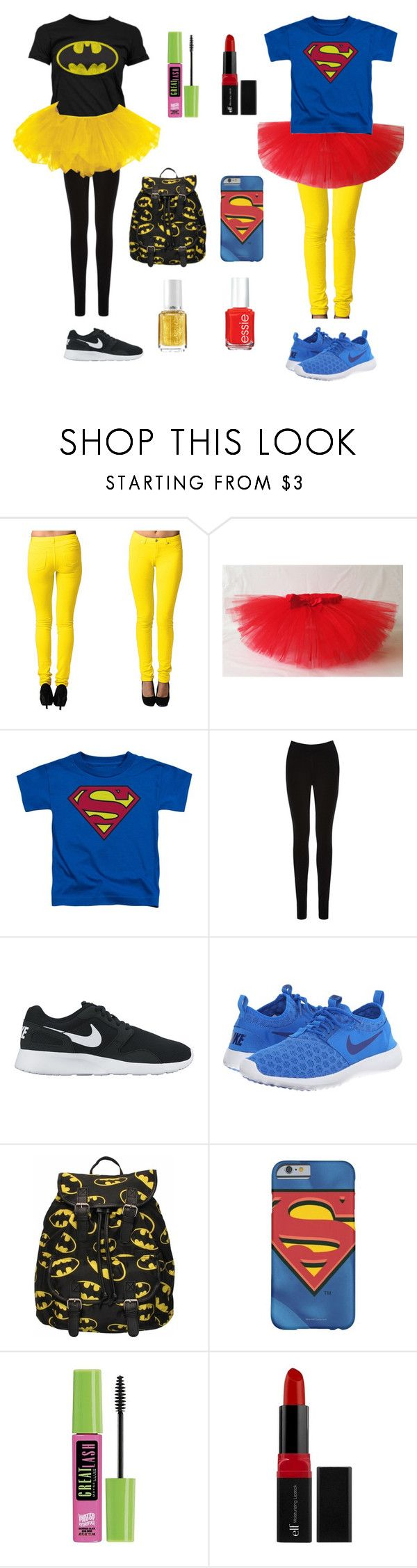"""BFF superhero Halloween costume"" by npd531 ❤ liked on Polyvore featuring Oasis, NIKE, Maybelline, e.l.f. and Essie"
