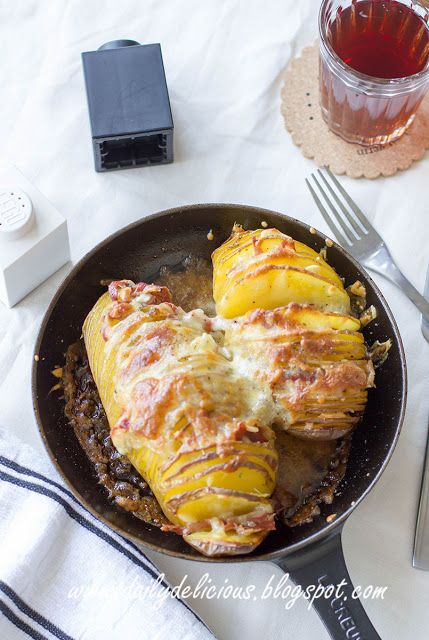 dailydelicious: Hasselback Potato with Pancetta and cheese | Potatoes ...