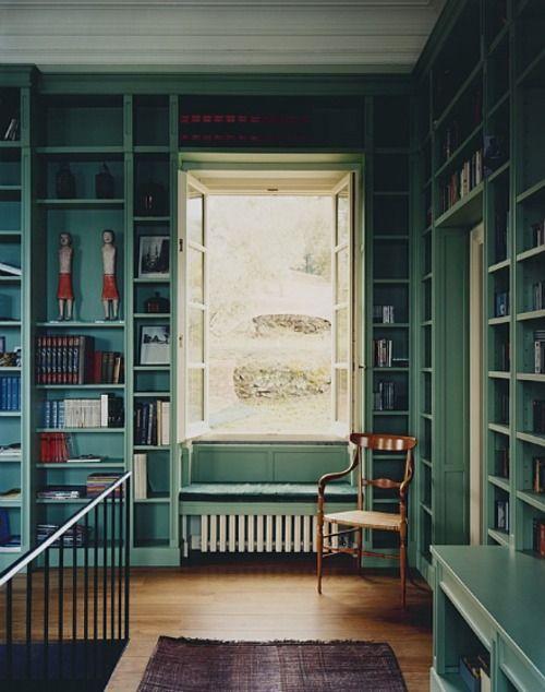 a hall/walkway full of bookshelves, great idea.
