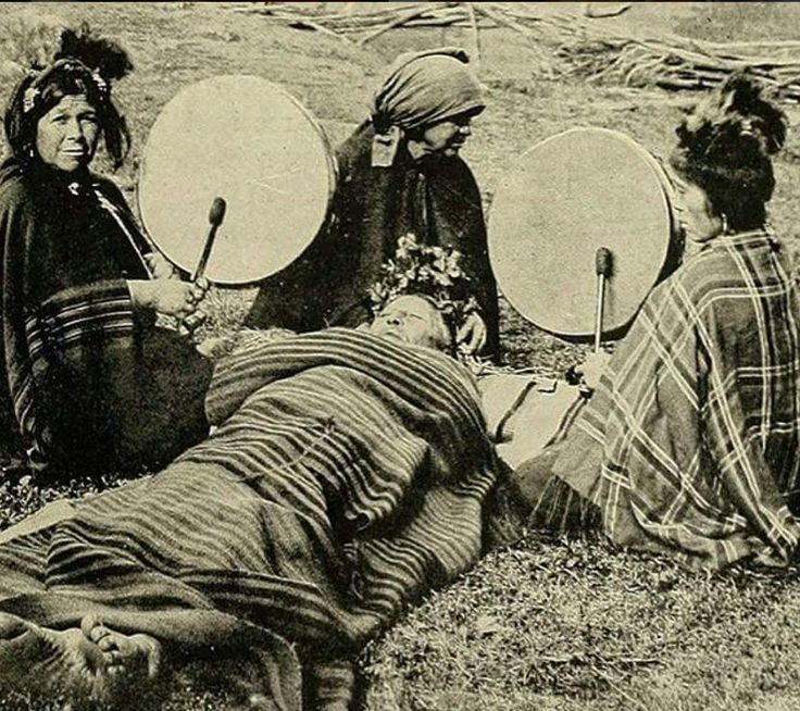 Medicine women with their medicine drums Mapuche medicine women treating a patient. Chile, 1908.