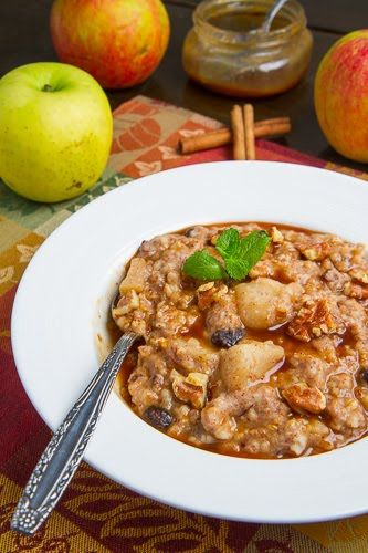 Slow Cooker Apple Pie Steel Cut Oatmeal - Mar '13, Maybe 1/4C too much liquid for an overnighter; a touch mushy.