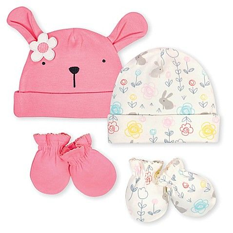 473375536a0 Gerber® Preemie 4-Piece Bunny Cap and Mitten Set in Coral