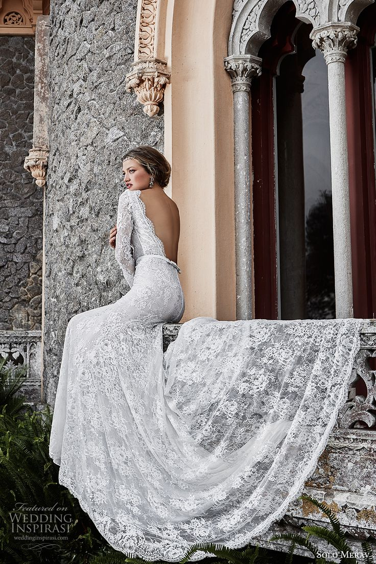 solo merav 2017 bridal long sleeves bateau neckline full embellishment elegant sheath wedding dress low back chapel train (victoria) bv