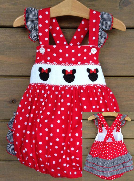 Mouse Ears Smocked Ruffle Bottom Bubble - Red & White Polka Dot