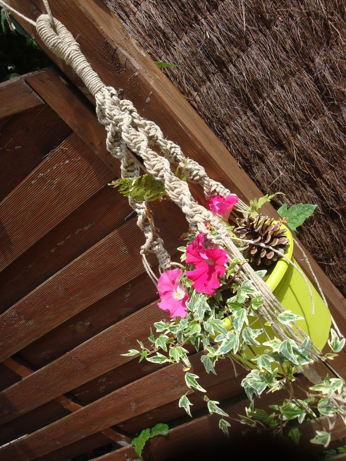 Tutoriel macram porte pot de fleurs femme2decotv plantes pinterest pots - Faire macrame suspension ...