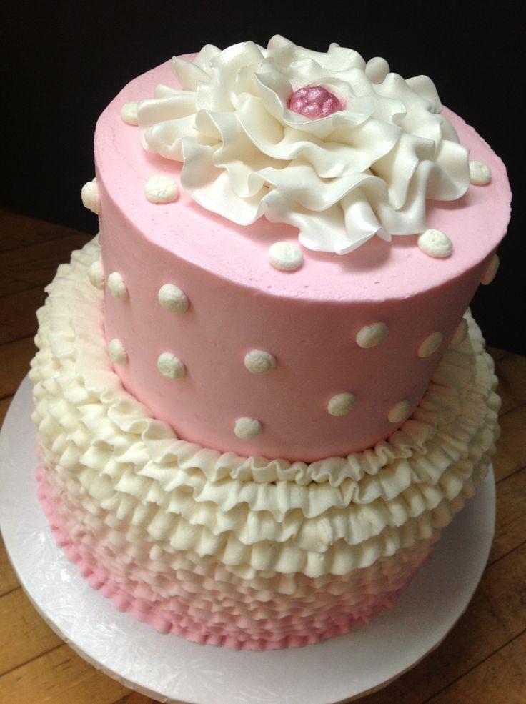 Buttercream Cake With Ombre Ruffles Ruffle Cake Cake