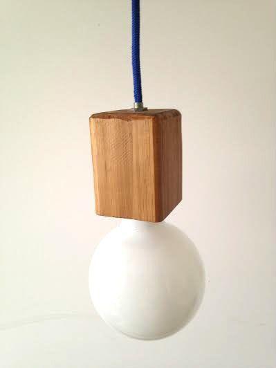 Lámpara de colgar madera y cable textil color