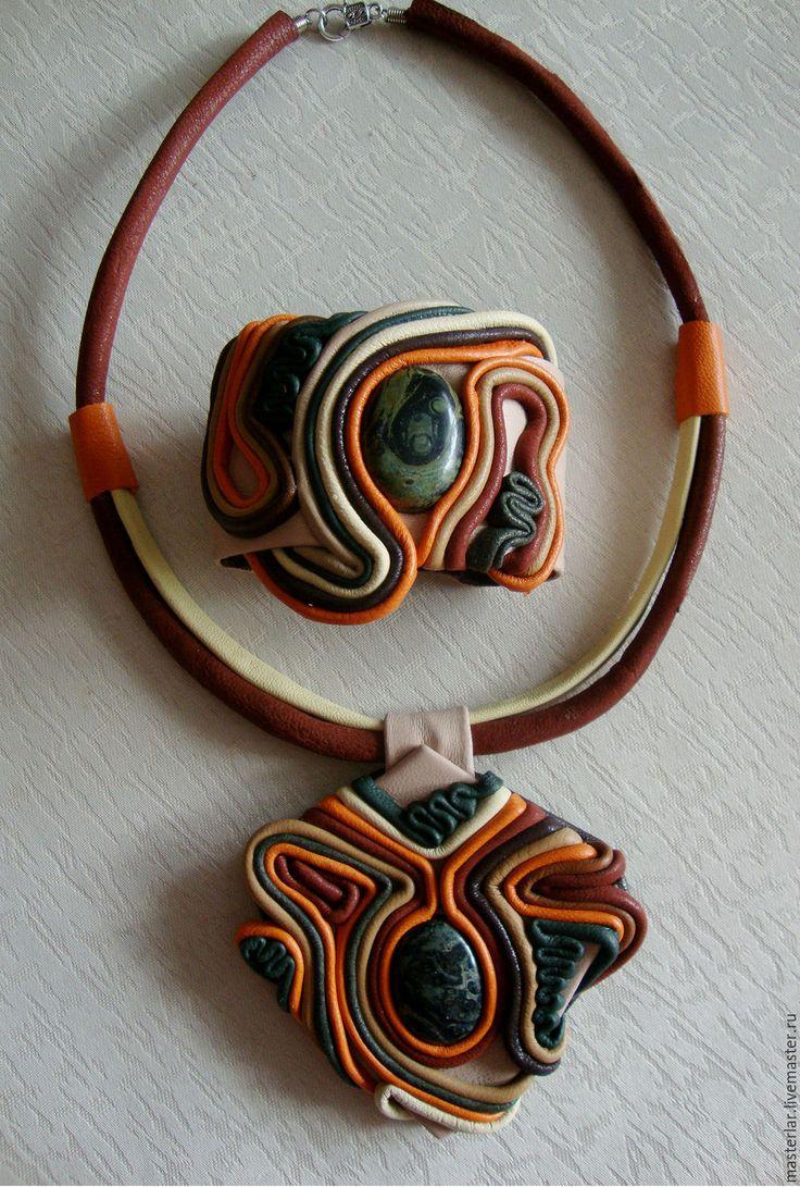 Купить Комплект украшений из кожи- Наяда. - тёмно-зелёный, комлект украшений, браслет