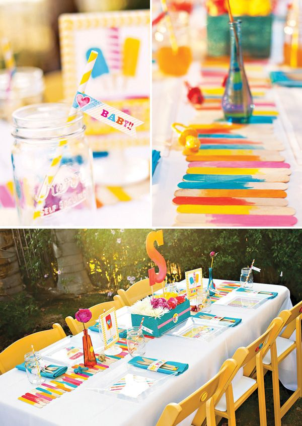 """""""About to POP"""" Popsicle Baby Shower Theme via @Hostess with the Mostess: If your throwing a summertime baby shower, then this theme is for you! Playing off of the phrase """"about to pop"""" and the vibrant colors of summertime Popsicles, you'll find party highlights like a DIY watercolor table runner and party favors, printables, floral centerpieces, chair embellishments and more!"""