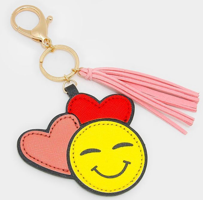 Double Heart Emoji Keychain With Faux Suede Tassel Charm