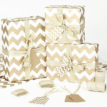 Gold Chevron White Christmas Wrapping Paper