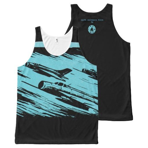 Earth Aerospace Force All-Over Print Tank Top - $35.90 Made by Jakprints / Design: Fluxionist -- Old jets dashing to save the planet.