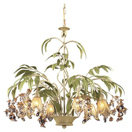 Add elegant appeal to your dining room or foyer with this stylish chandelier, showcasing leaf-inspired accents and floral glass shades.