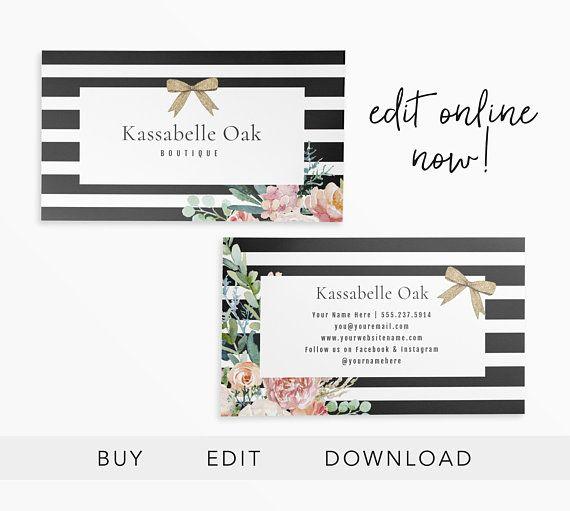 Editable Business Card Business Card Design Boutique Etsy Business Card Design Blossom Design Card Design