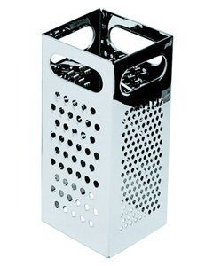 """Royal Industries ROY GR 77  4"""" x 4"""" Heavy-Duty Box Grater by food service warehouse. $7.16. Height: 8.75"""". Grater Type: Box-Type. Ship Weight: .83 lbs.. Dimensions (W x D): 4"""" x 4"""". Coarseness: Various. Whether your kitchen staff is tossing a layer of mozzarella on top of a pizza or heaping cheddar cheese over a plate of nachos  a cheese grater is a valuable instrument to have in the kitchen. The 4"""" x 4"""" heavy-duty box grater (ROY GR 77) from Royal Industries is an attractive ..."""
