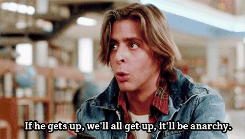 The Breakfast Club - I just read this in his voice exactly the way he says it. Haha. I've seen this movie too many times.