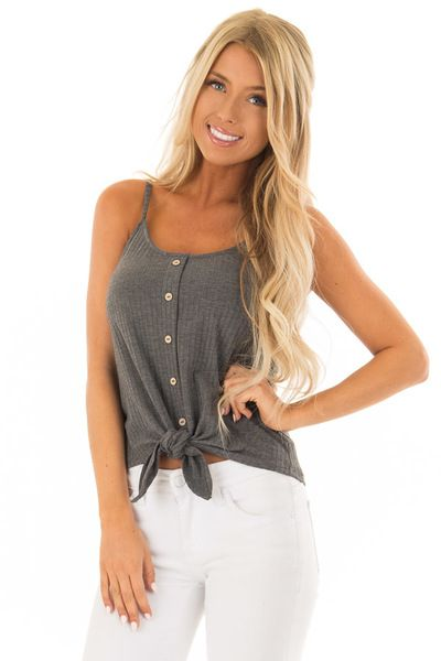 b746dbdfb1f Iron Grey Ribbed Tank Top with Front Tie - Lime Lush Boutique ...