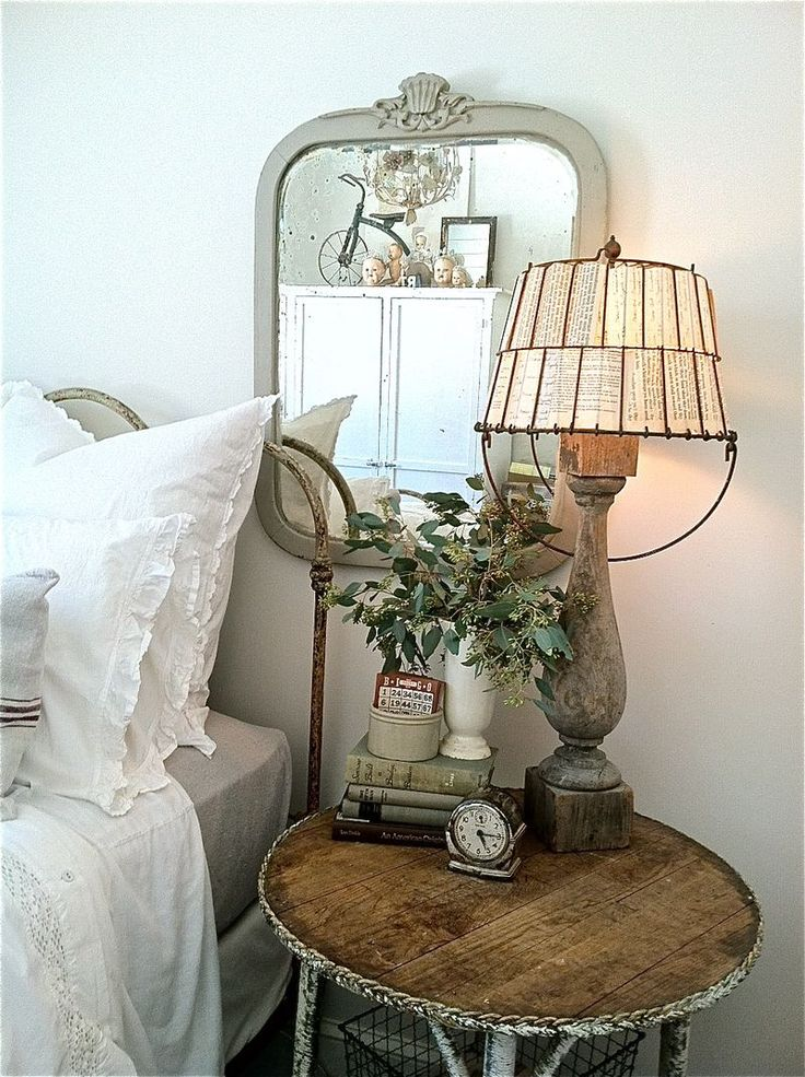 love the basket turned shade and the lamp from old spindle: Books Pages, Vintage Books, Decor Ideas, Lamps Shades, Shabby Chic, Eggs Baskets, Bedside Tables, Wire Baskets, Bedrooms Decor