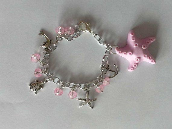 Bracciale Stella marina Fimo e perle di KiBijoux su Etsy