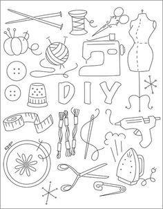 Nähsachen! Vielleicht für eine DIY-Anleitung im Sketchnotes-Stil?