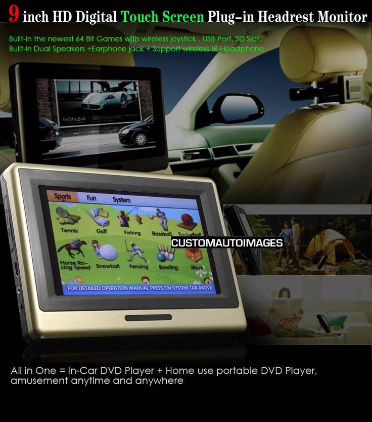 dual 9 hd lcd car zipper pillow headrest monitors dvd player with wireless headphones