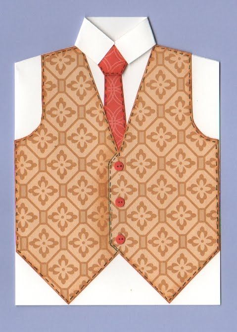 To make the waistcoat card you first need to print the template on a piece of A4 cardstock as shown and cut out each of the elements - ple...