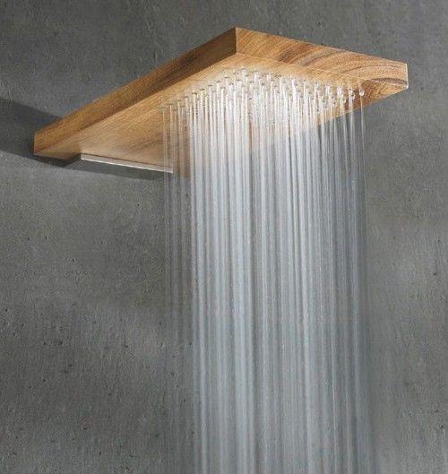 Gostei da ideia de embutir a ducha na madeira deixando o modelo no estilo rústico/chic