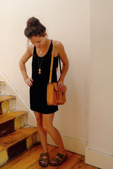 LBD and Birks. //I love my black birkenstocks. They're perfect with a black cotton dress like this.