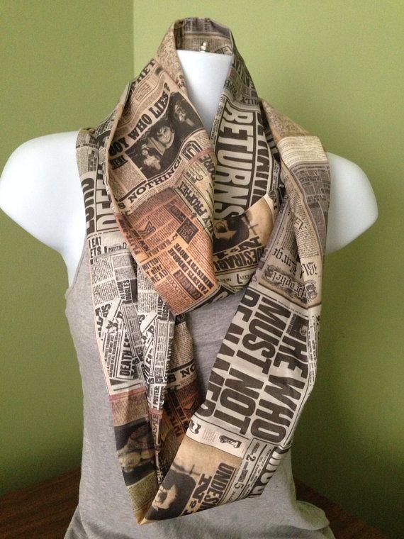 Handmade Harry Potter Inspired Daily Prophet Chronology Silk Custom Infinity Scarf (not skinny style)